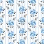 Floral seamless striped pattern. Watercolor background with blue (id: 14177) vászonkép óra