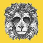 Hand drawn portrait of Lion with sunglasses. Vector isolated ele vászonkép, poszter vagy falikép