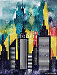 American City Buildings And Skyscrapers Watercolor Illustration (id: 15177)