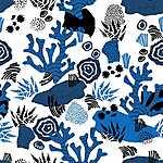 Tengeri motívumok / kék-fekete  (id: 18177) többrészes vászonkép