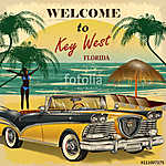 Welcome to Key West, Florida retro poster. (id: 19177) többrészes vászonkép