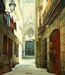 Barcelona gótikus negyedében, illusztráció, festészet (id: 4977) vászonkép óra