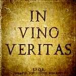 A vino veritas aláír egy kőzet texturált gerincen (id: 5077) poszter