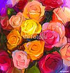 A sárga és vörös színű virágok csendéletei (id: 9077) többrészes vászonkép