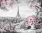 olajfestmény, párizsi nyár. kedves városi táj. virágos rózsa (id: 10278) vászonkép óra