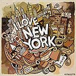 Cartoon cute doodles hand drawn I Love New York inscription (id: 15178) bögre