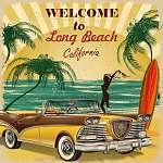 Welcome to long Beach, California retro poster. (id: 19178) vászonkép