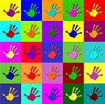 Warhol kezek (id: 5578) falikép keretezve