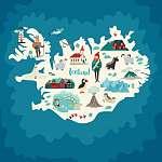 Izland térkép illusztrációkkal (id: 12879) bögre