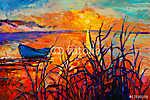 Naplementék az óceán felett (id: 4379) falikép keretezve