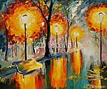 Az őszi utcai olajfestmény, művészeti munka (id: 4879)