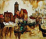 régi kikötő a német városban wismar, olajfestés vászonra (id: 4979) falikép keretezve