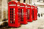 Vörös telefonos dobozok antik texturált képe Londonban (id: 10080) többrészes vászonkép