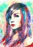 gyönyörű nő, akvarell festmény, színes (id: 10280)