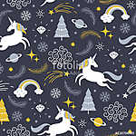 varrat nélküli minta egyszarvúval, karácsonyi téma (id: 12280) falikép keretezve