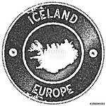 Izland térképe bélyegző, retro stílusú (id: 12880) vászonkép óra
