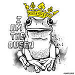 Poster with a picture of a frog wearing a yellow crown. Vector i (id: 14480) poszter