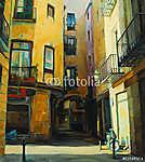 bírósági udvar barcelona gótikus negyedében, festészet, illusztr (id: 4980) vászonkép