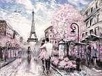 Olajfestmény, Párizs utcafelmérése. . európai városi táj (id: 10281) falikép keretezve