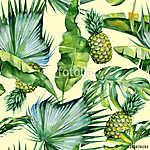A trópusi levelek és a pineapplom varrat nélküli akvarellje (id: 12581) vászonkép óra