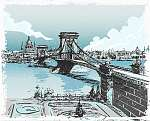 Vintage Hand Drawn View of Lions Bridge in Budapest (id: 13281)