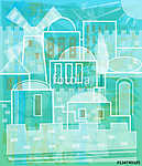 Jerusalem In White - Stylized Jerusalem in white and blue colors. Eps10 (id: 15481) poszter