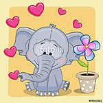 Elephant with heart and flower (id: 19081) többrészes vászonkép