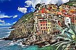színpadi Olaszország. Riomaggiore falu, Cinque Terre (id: 4281) tapéta