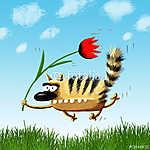 Repülő macska tulipánnal (id: 5281)