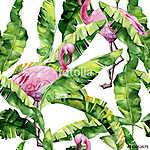 Banán pálma és flamingók (id: 12582)