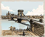 Vintage Hand Drawn View of Lions Bridge in Budapest (id: 13282) tapéta