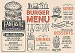 Burger restaurant menu. Vector food flyer for bar and cafe. Desi (id: 13682) bögre