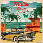 Malibu Beach, California retro poster. (id: 19182)