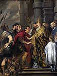 Anthony van Dyck : (Szent) Ambrus püspök kitiltja  I. Theodosius császárt a templomból (id: 19382) tapéta