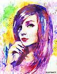 gyönyörű nő, akvarell festmény, színes (id: 10283)