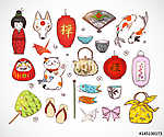 Japán színes doodle vázlatelemek. Szimbólumok Japánban. (id: 10483) vászonkép
