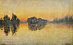 Paul Signac: Sunset, Herblay, Opus 206 (1889) (Múzeum színverzió) (id: 11483) falikép keretezve