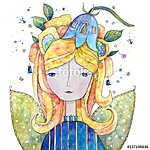 Virágtündér (akvarell) (id: 12383) többrészes vászonkép