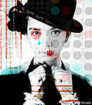 The poster of a beautiful girl in the image of a clown in a pop art style.. (id: 15783)