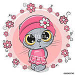 Cute Cartoon Kitten with flowers (id: 18983) tapéta
