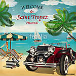Welcome to Saint Tropez retro poster. (id: 19183)