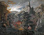 Id. Markó Károly : Katonai tábor az erdőben (színverzió 1.) (id: 19883) vászonkép óra