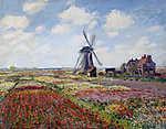 Claude Monet: Tulipánmező a Rijnsburg-i szélmalommal (1886) (id: 3683) vászonkép óra