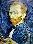Paul Cézanne: Önarckép palettával (id: 383) többrészes vászonkép