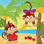 majom fiú ad lány banán - vektoros illusztráció, eps (id: 4483) vászonkép óra