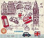 Vektor kézzel rajzolt kártya londoni szimbólumokkal (id: 4683)