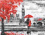 Londoni séta piros esernyővel (id: 10284)