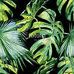 A trópusi levelek zökkenőmentes akvarellje, sűrű jungl (id: 12584)