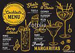 Cocktail bar menu. Vector drinks flyer for restaurant and cafe.  (id: 13684) tapéta