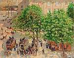 Camille Pissarro: A Theatre-Francais tér, tavasszal (id: 2684) falikép keretezve